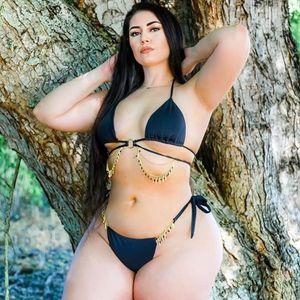 Black Bikini with Chain Jewel Details
